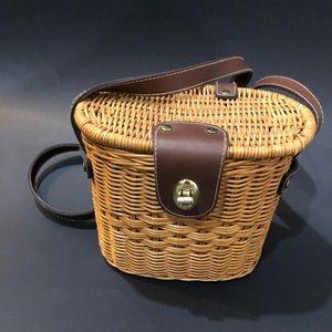 Rattan basket purse